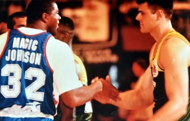 Magic Johnson with HIV at Olympics Barcelona
